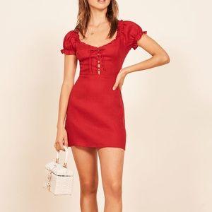 REFORMATION KLARA 100% red linen dress size 12
